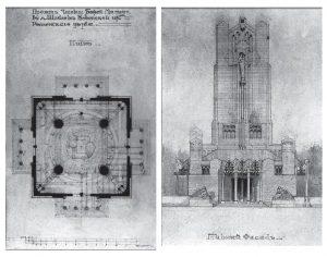A. Vivulskio koplyčios projektas: planas ir priekinis fasadas